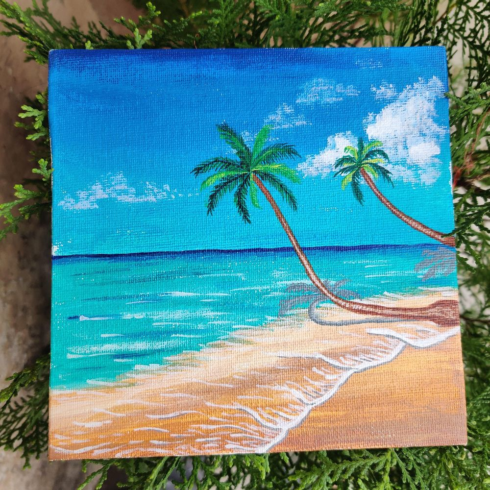 Beach and palm tree - image 2 - student project