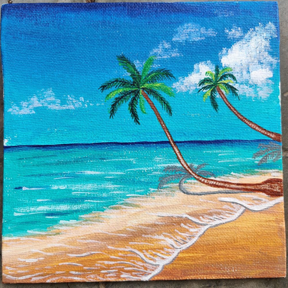 Beach and palm tree - image 1 - student project