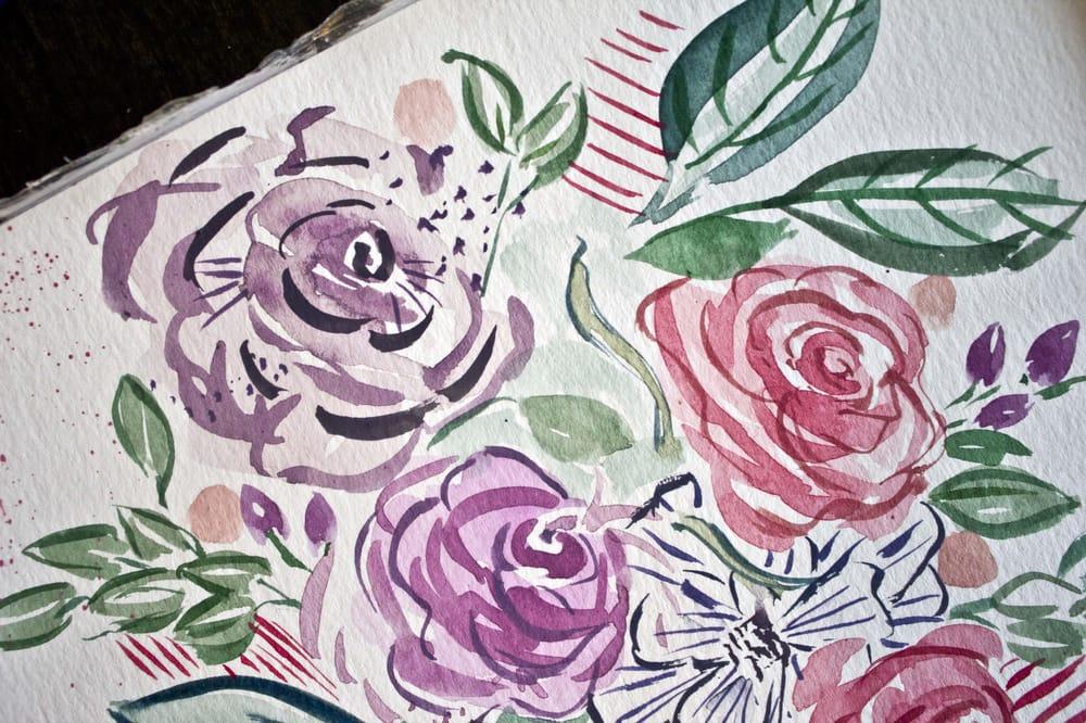 My expressive illustrative floral practice bouqet - image 2 - student project