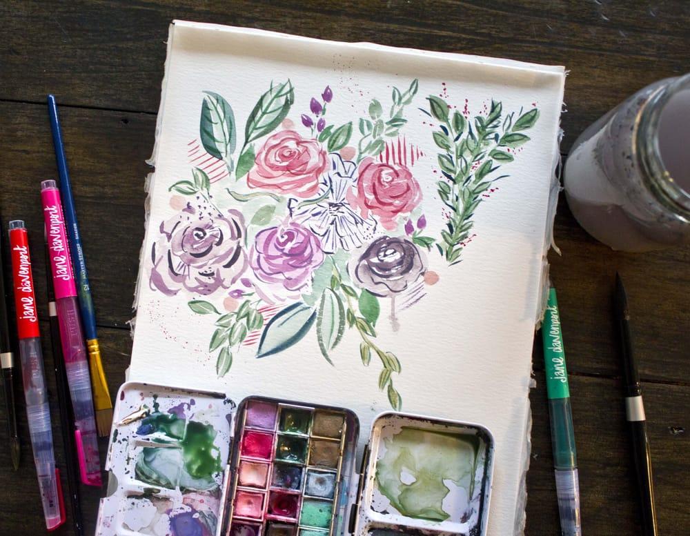 My expressive illustrative floral practice bouqet - image 1 - student project