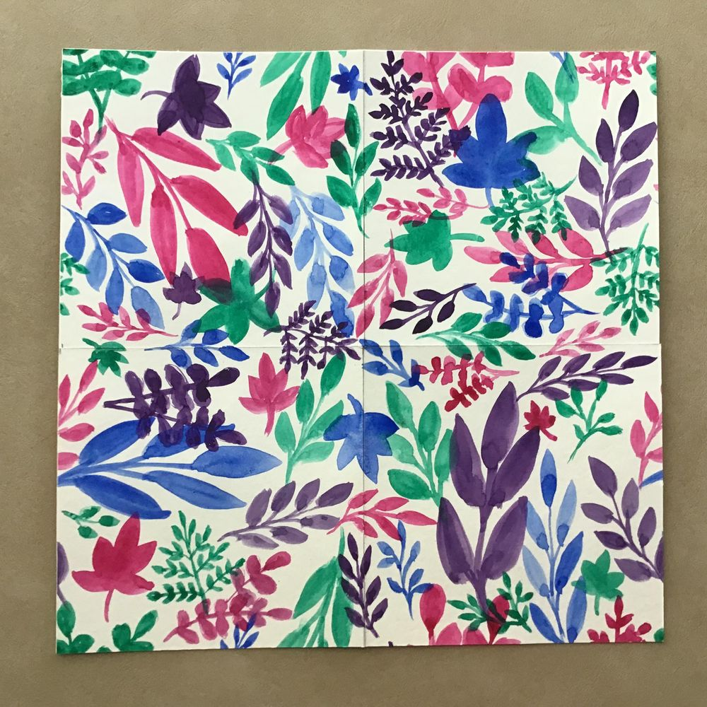 Watercolor Leaves Pattern - image 1 - student project