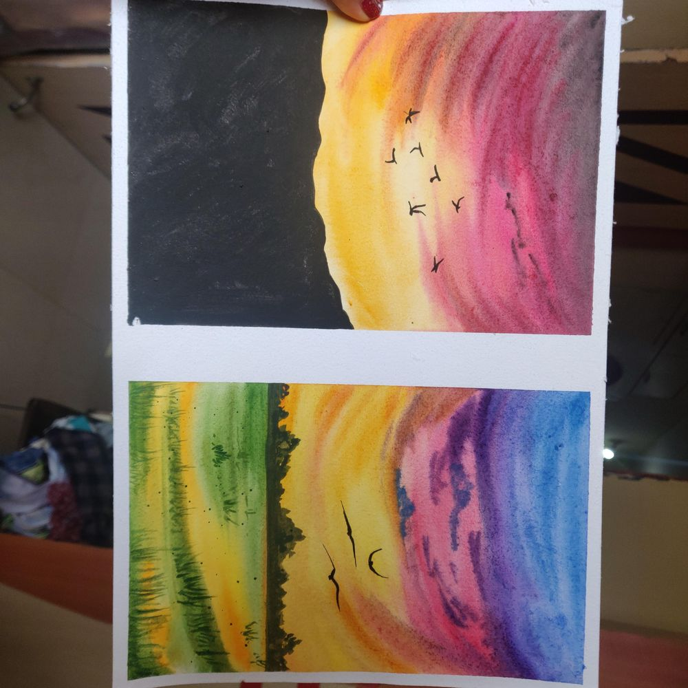 Watercolor aesthetic sunsets. - image 2 - student project