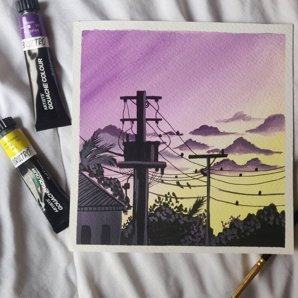 Powelines sunsets paintings in gouache - image 2 - student project
