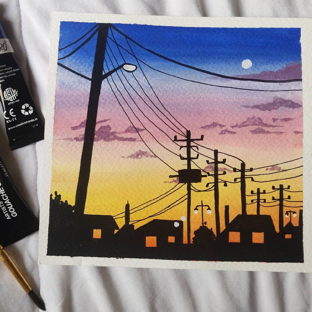 Powelines sunsets paintings in gouache - image 4 - student project