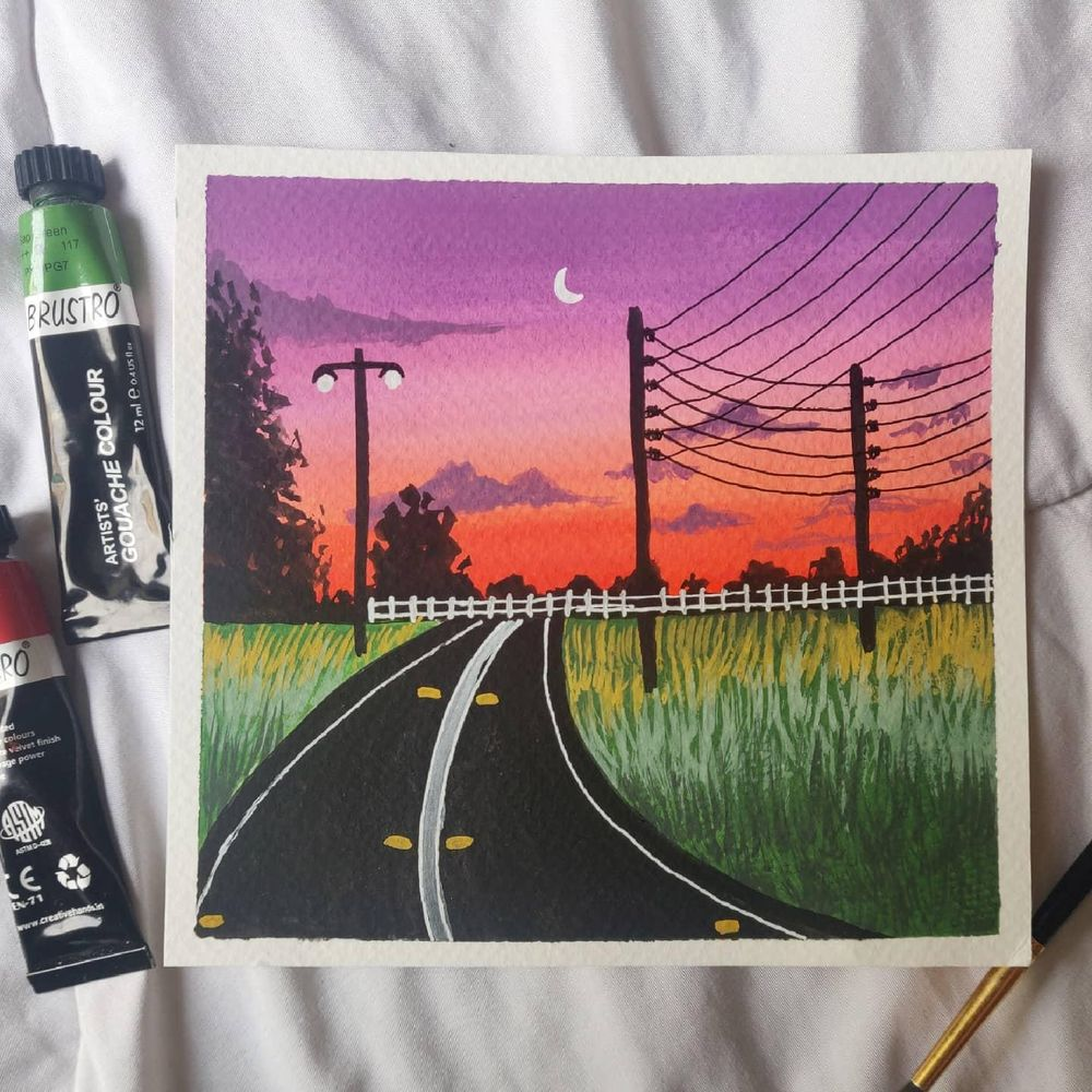 Powelines sunsets paintings in gouache - image 3 - student project
