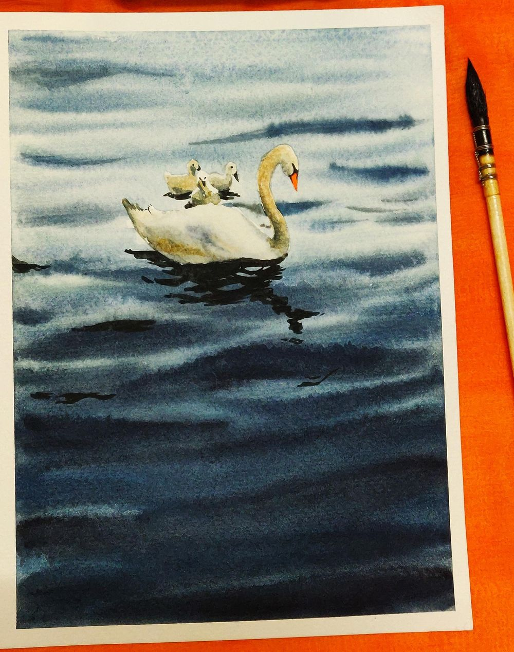Watercolour swan Lake. - image 1 - student project