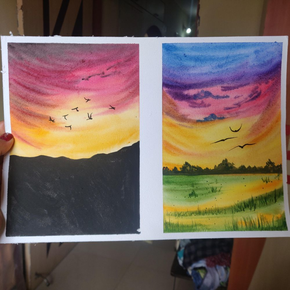 Watercolor aesthetic sunsets. - image 3 - student project