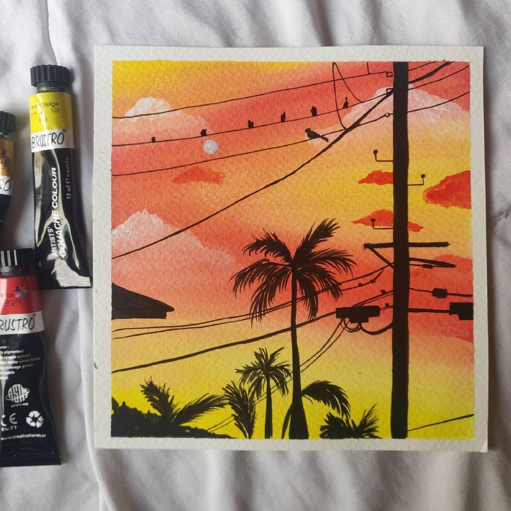 Powelines sunsets paintings in gouache - image 1 - student project