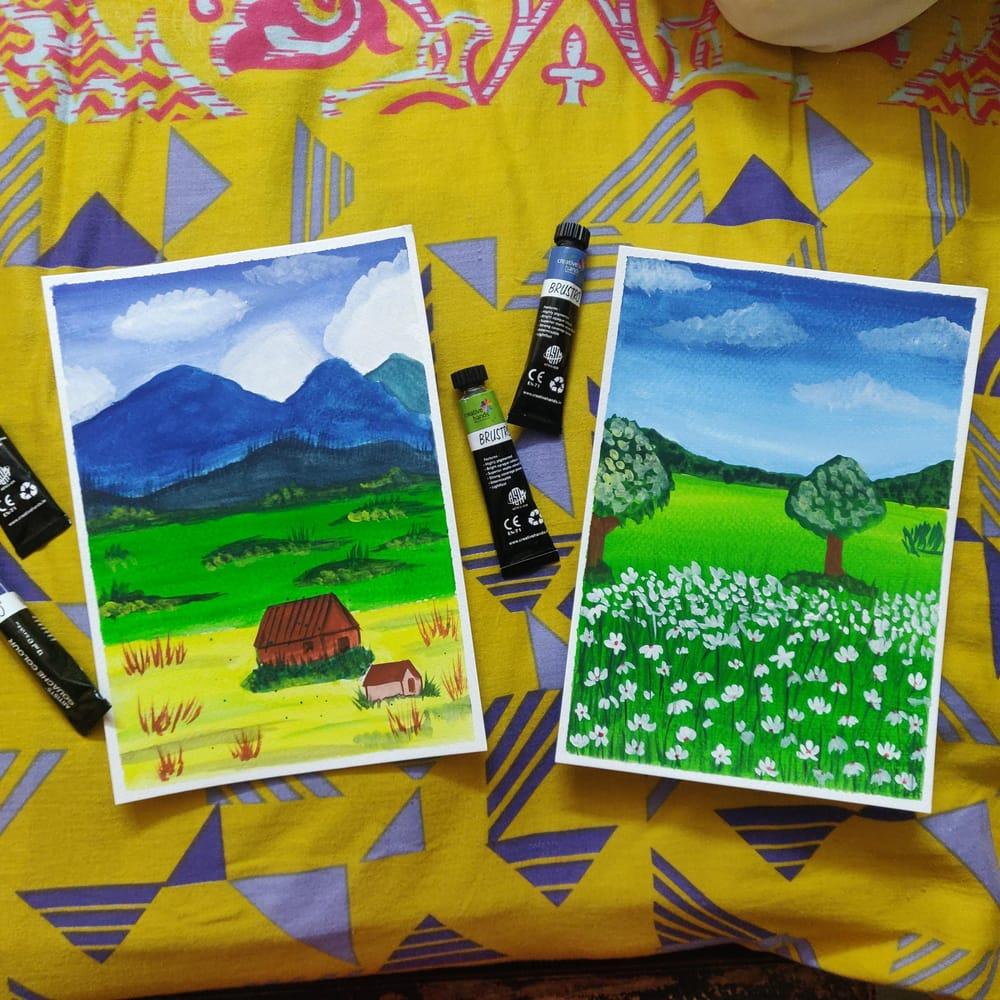 Gouache beginner landscape with Uma - image 1 - student project