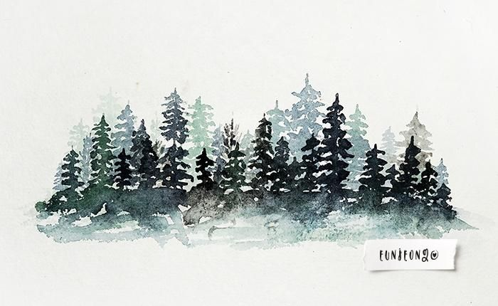 Watercolor Pine Forest - image 1 - student project