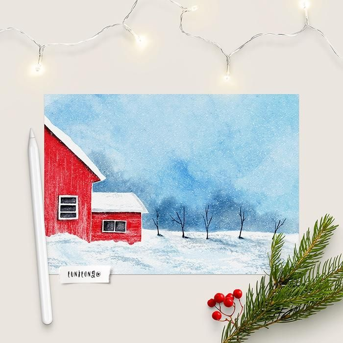 Winter Landscapes with Watercolor - image 1 - student project