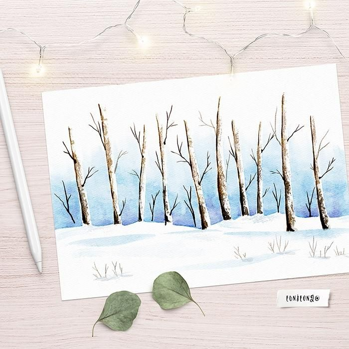 Winter Landscapes with Watercolor - image 2 - student project
