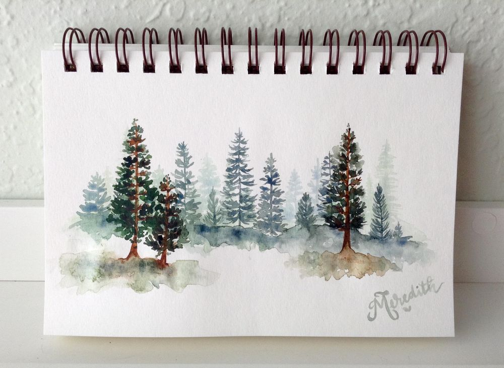 Watercolor Loose Pines - image 1 - student project