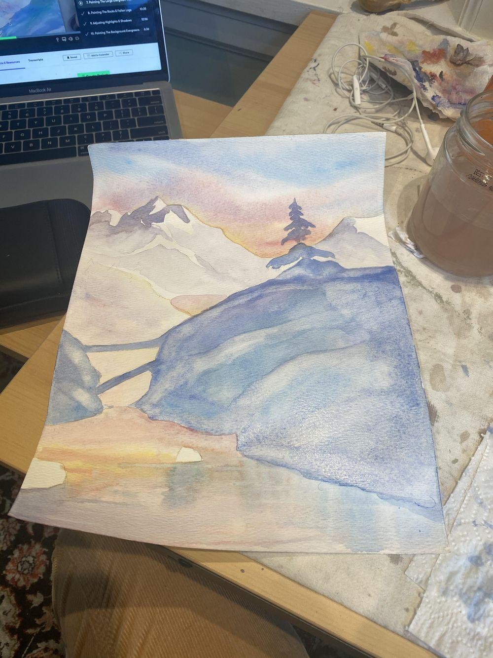 Sunset wintery landscape - image 1 - student project