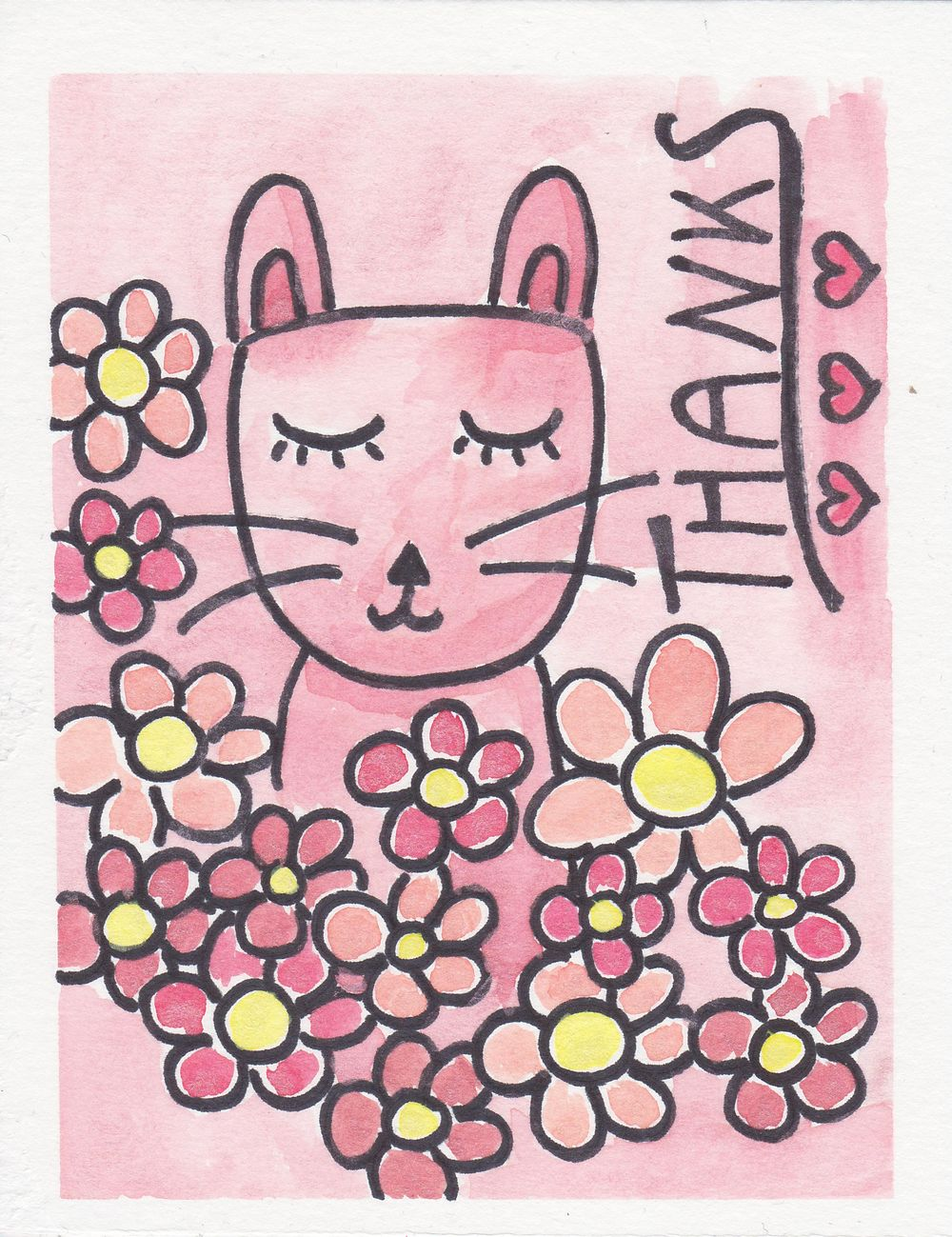 Garden Cat Thank You Card - image 1 - student project