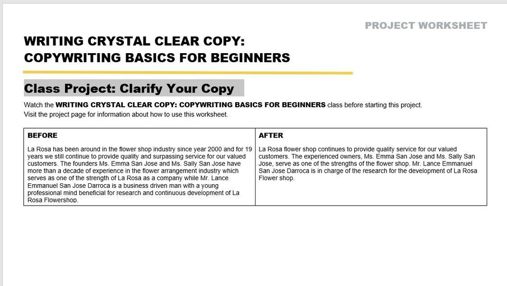 Class Project: Clarify Your Copy - image 1 - student project