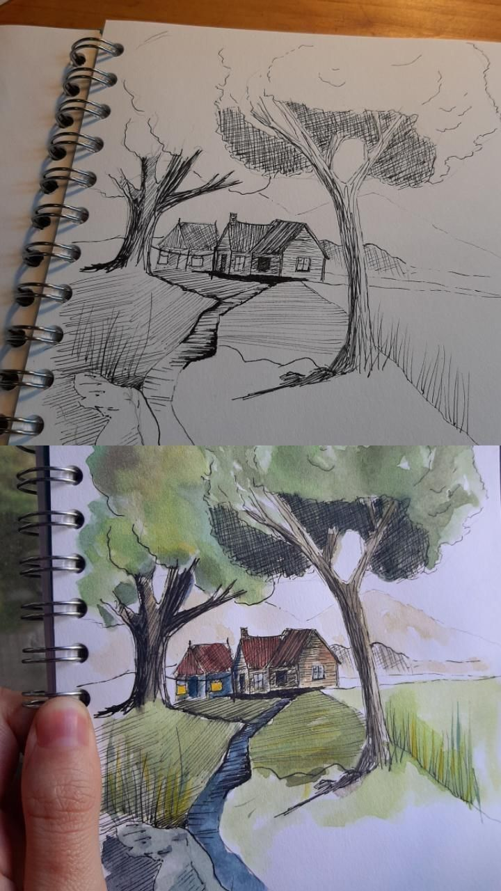 Ink and watercolor cabin - image 1 - student project