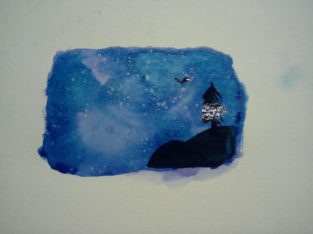 My first watercolor galaxy! - image 1 - student project