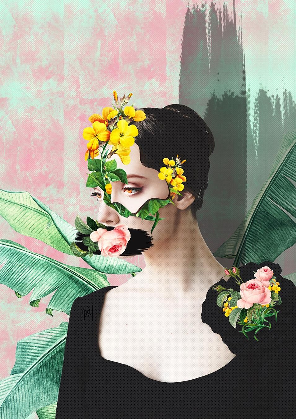 Floral Collage Portraits - image 3 - student project