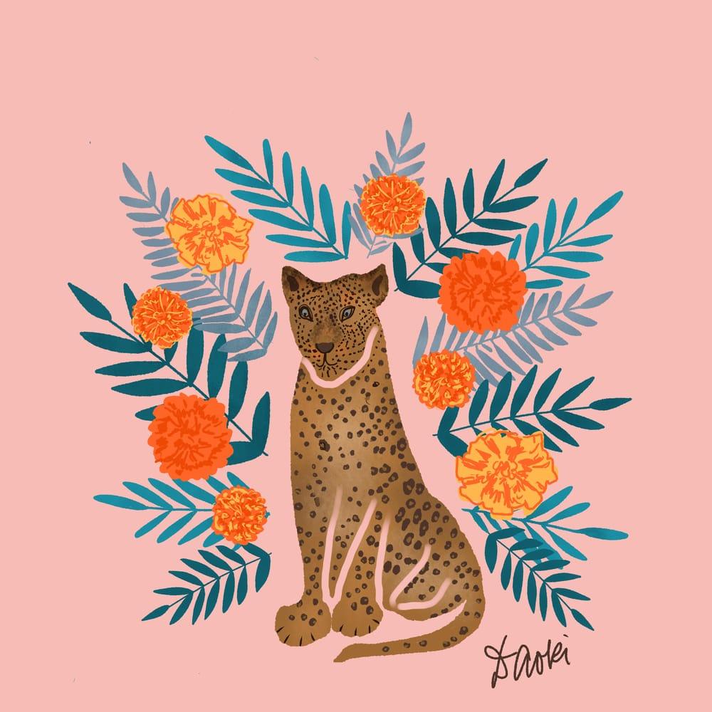 Jaguar with marigolds - image 1 - student project