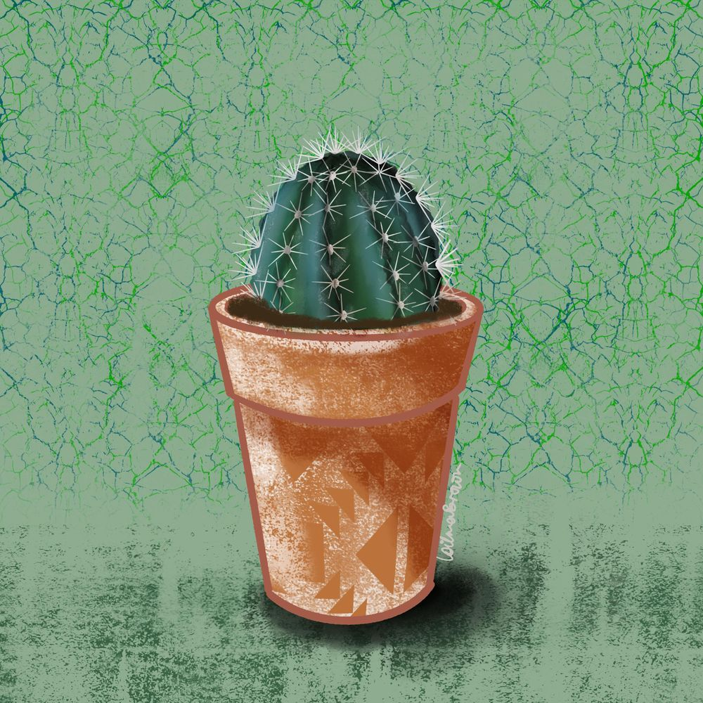 Painting cactus in pots using Procreate - image 2 - student project