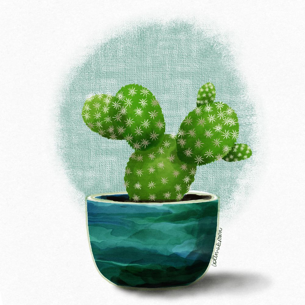 Painting cactus in pots using Procreate - image 1 - student project