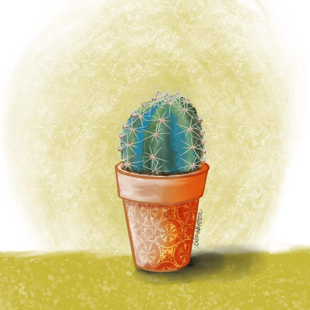 Painting cactus in pots using Procreate - image 3 - student project