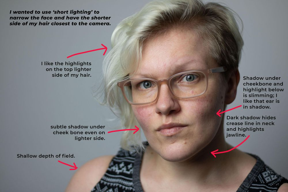 Headshot practise - Portrait lighting patterns - image 2 - student project