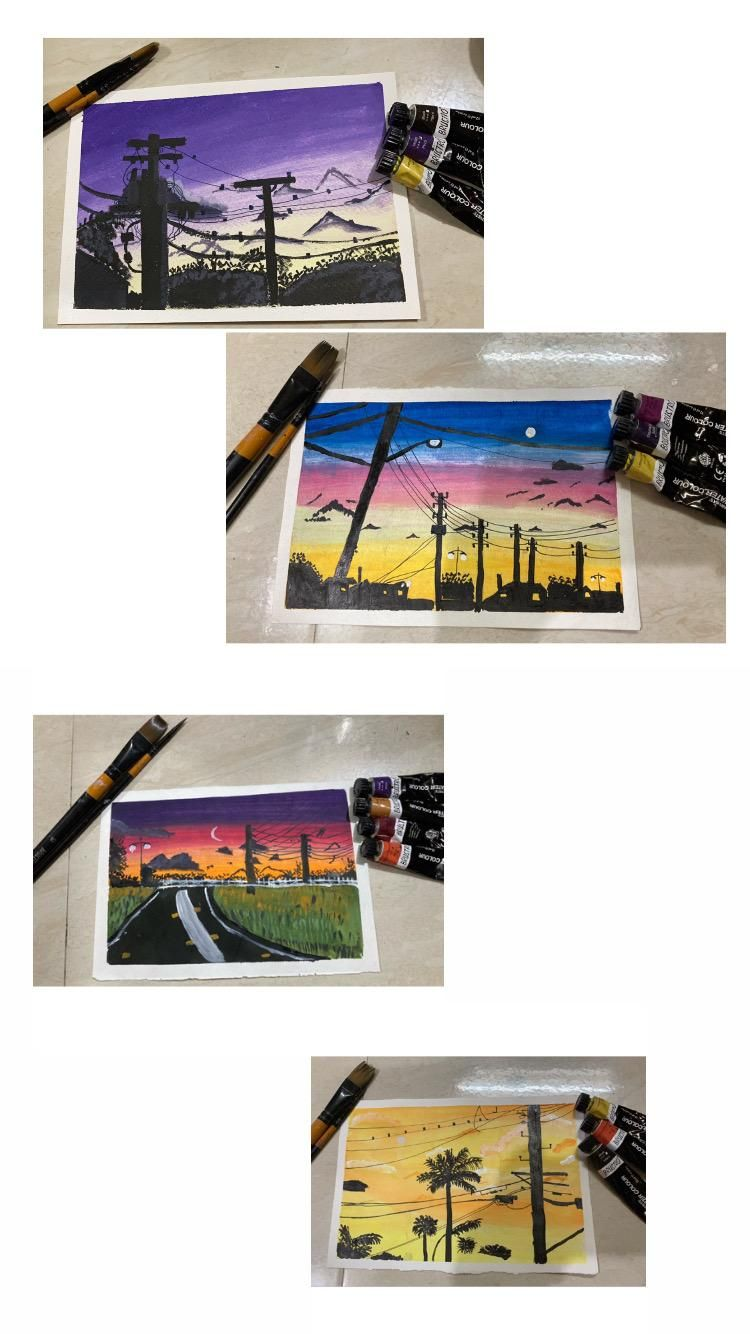 Power line sunset paintings - image 1 - student project