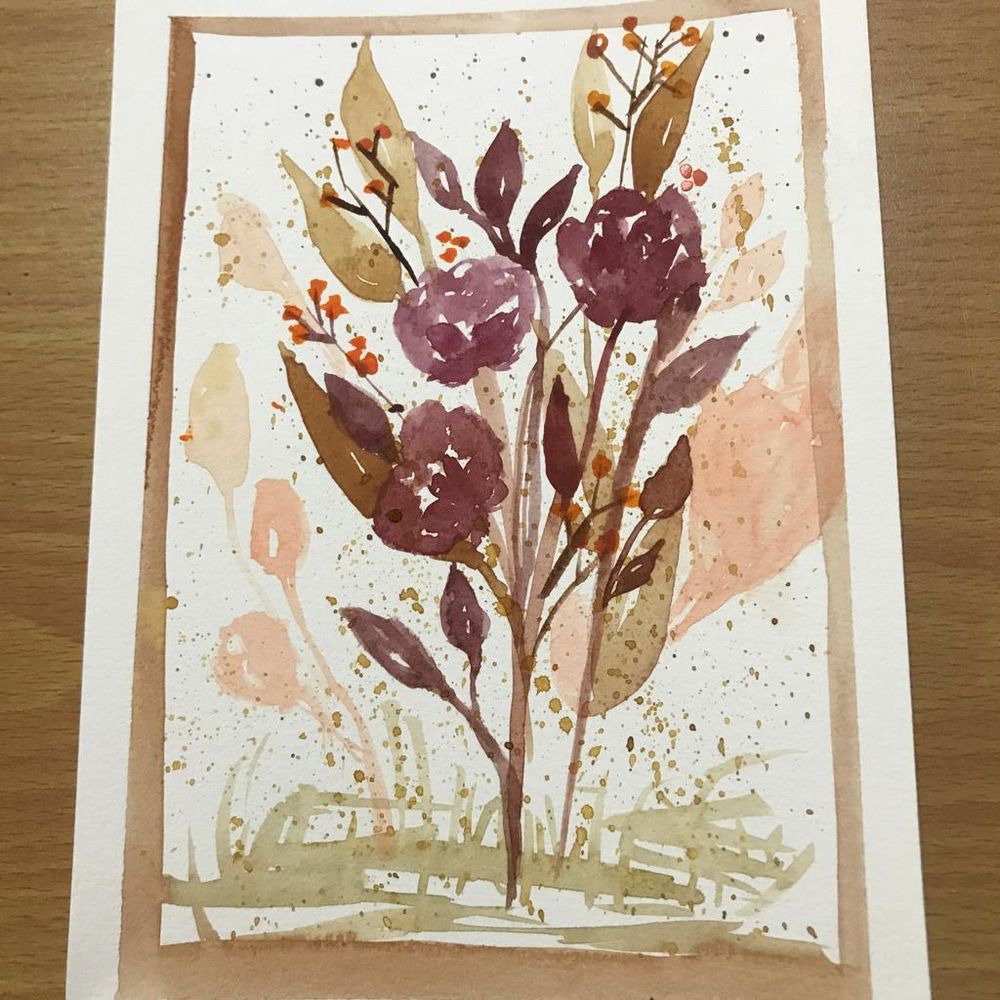 Autumnal Watercolor Bouquets - image 2 - student project