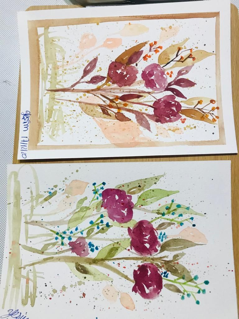Autumnal Watercolor Bouquets - image 1 - student project