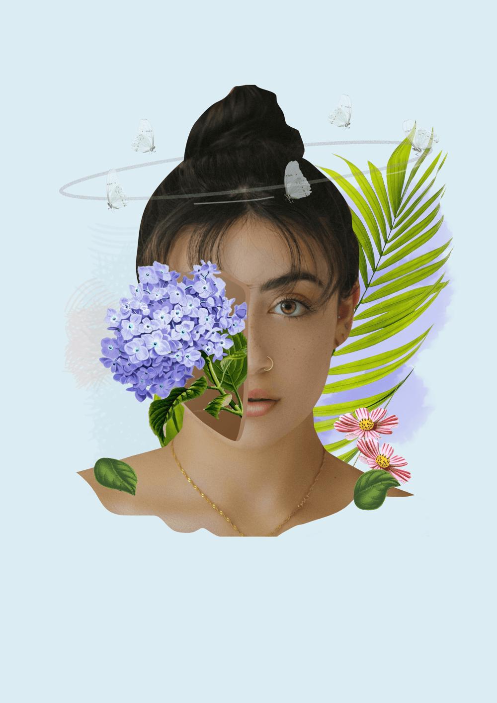 Digital Collage: Floral Potrait - image 1 - student project
