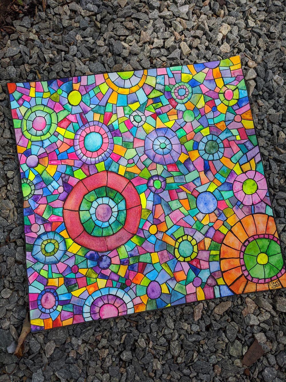 Mosaics -- Many Ways -- Seahorse, Sunset, Stained Glass Window, Yin Yang, Mermai - image 3 - student project