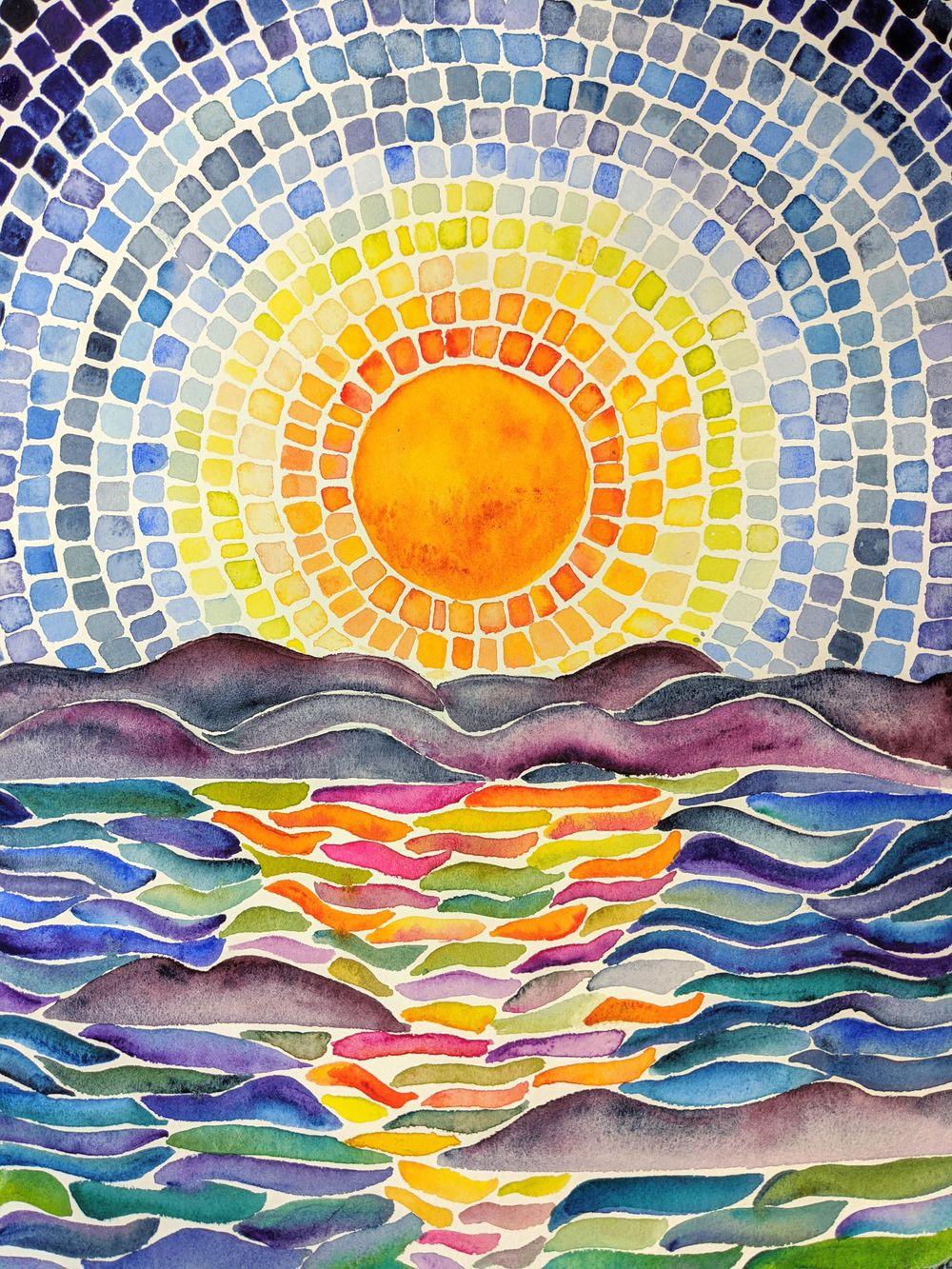 Mosaics -- Many Ways -- Seahorse, Sunset, Stained Glass Window, Yin Yang, Mermai - image 4 - student project