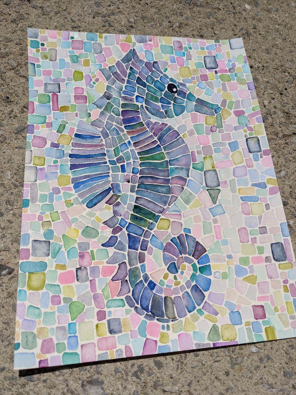 Mosaics -- Many Ways -- Seahorse, Sunset, Stained Glass Window, Yin Yang, Mermai - image 5 - student project