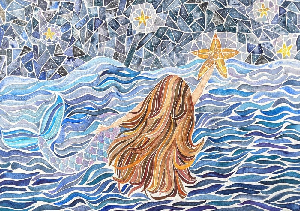 Mosaics -- Many Ways -- Seahorse, Sunset, Stained Glass Window, Yin Yang, Mermai - image 1 - student project