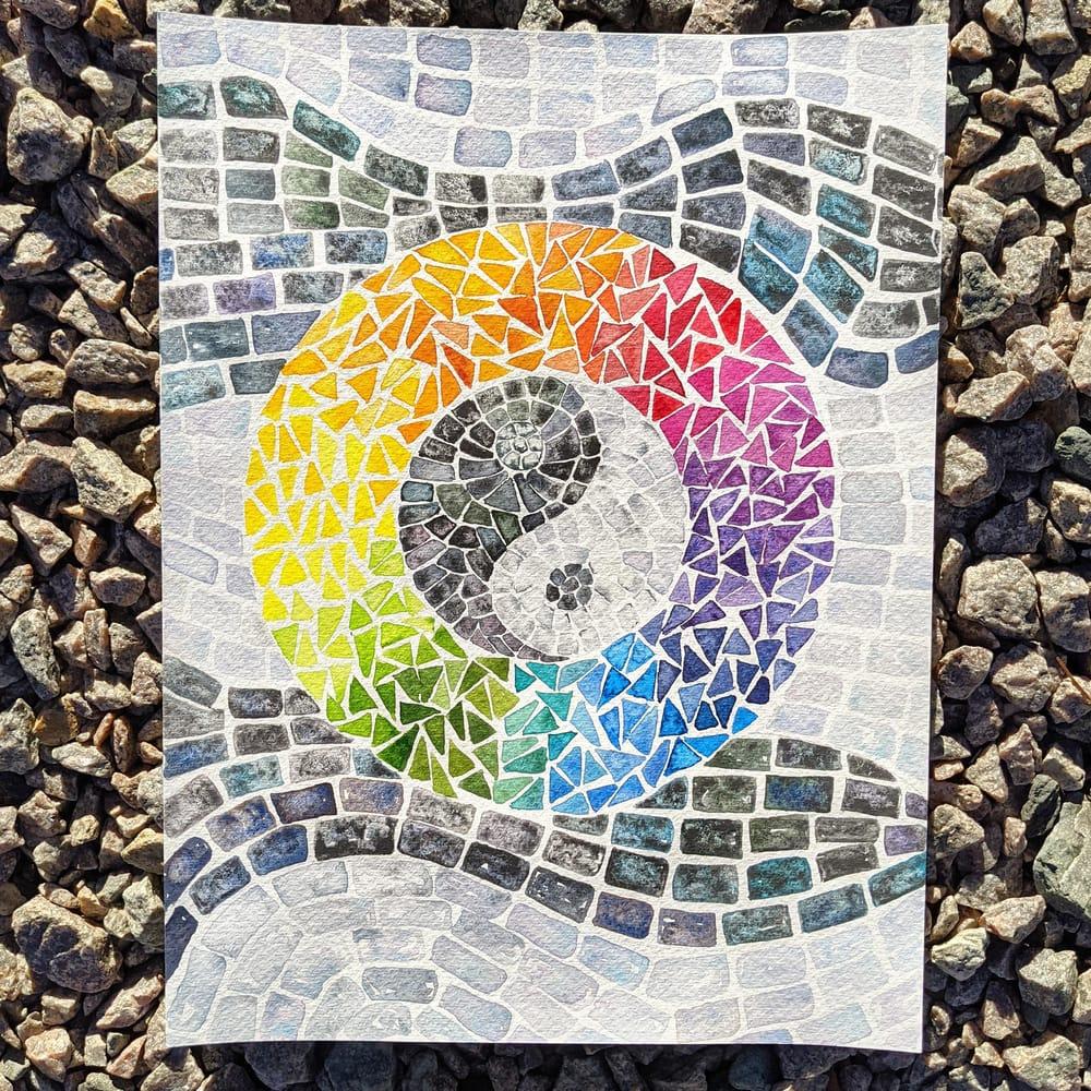 Mosaics -- Many Ways -- Seahorse, Sunset, Stained Glass Window, Yin Yang, Mermai - image 2 - student project