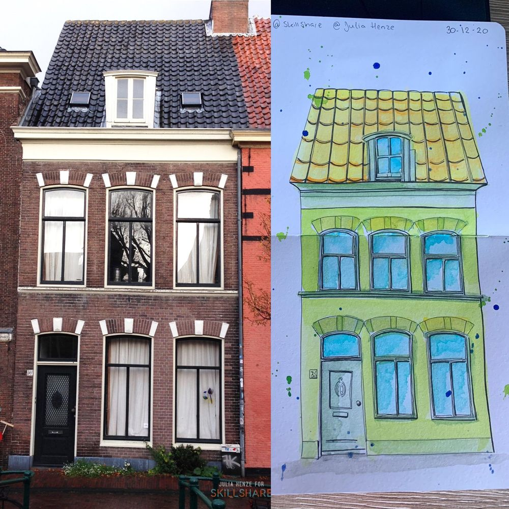 My first watercolor houses! - image 1 - student project
