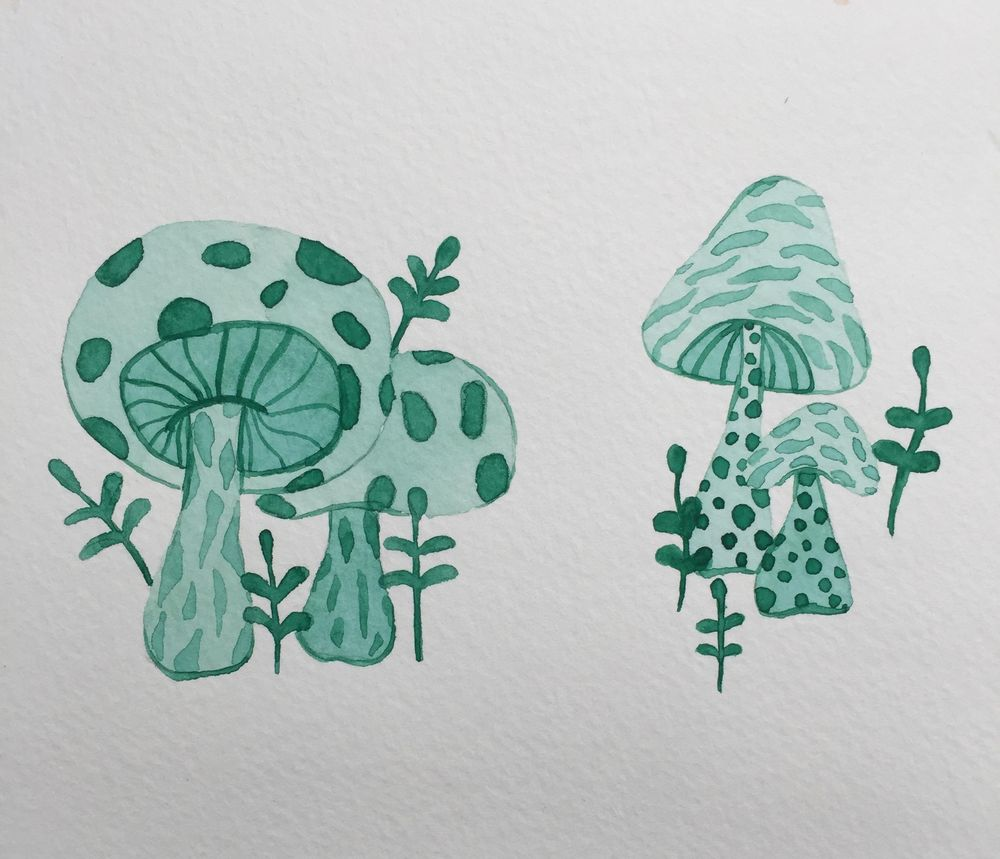 Monochrome mushrooms, Eletric jellyfishes and Galaxy - image 2 - student project
