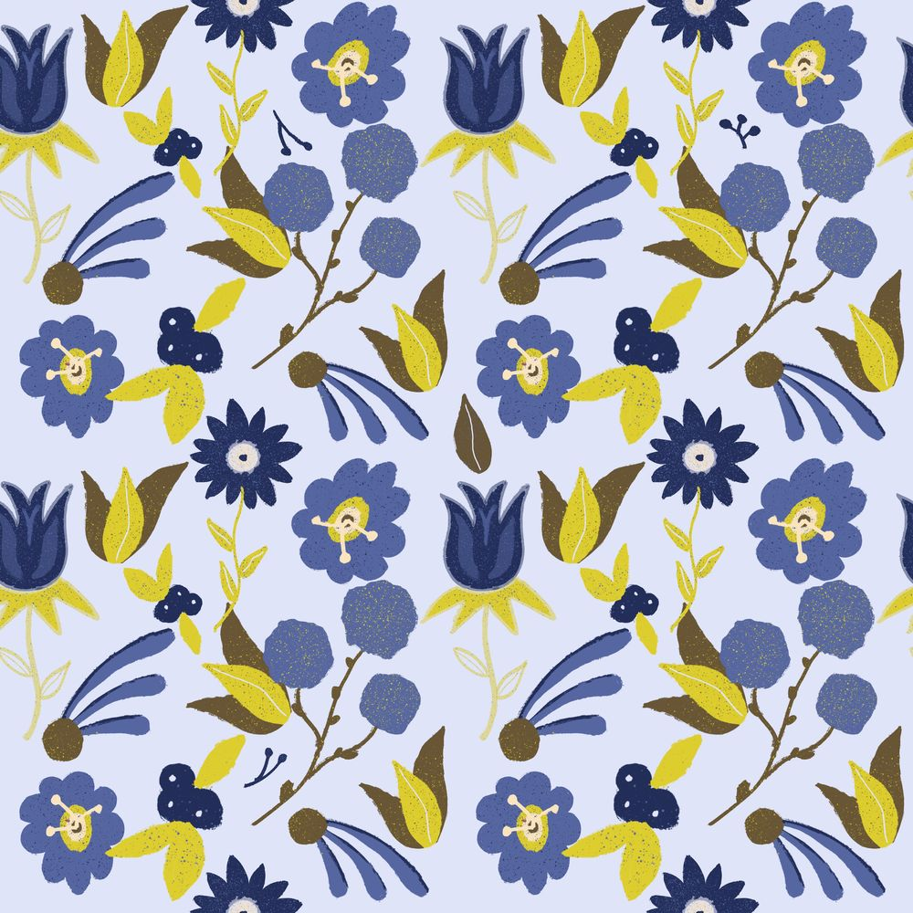Repeating Floral Pattern using Procreate - image 1 - student project