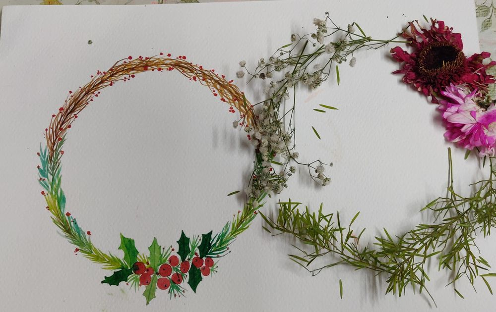 Christmas Watercolor wreath - image 2 - student project
