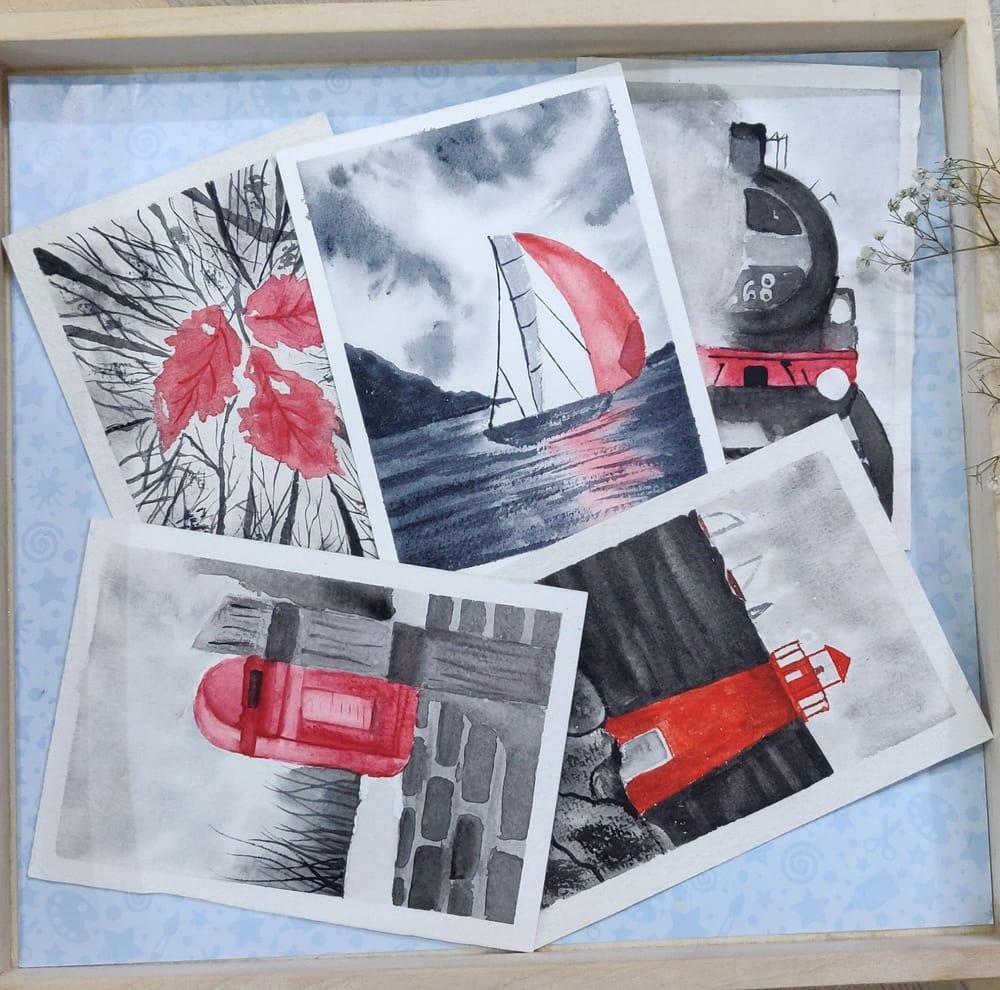 Watercolor postcards: Color splash series - image 1 - student project