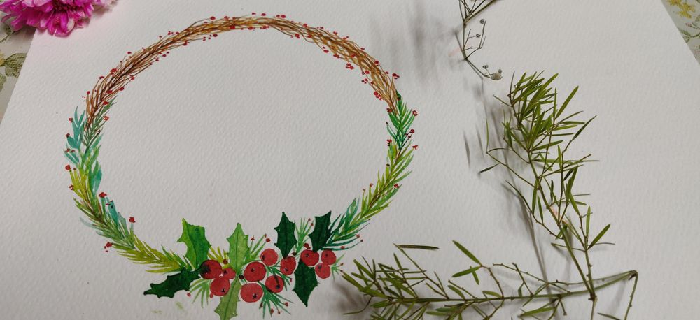 Christmas Watercolor wreath - image 1 - student project