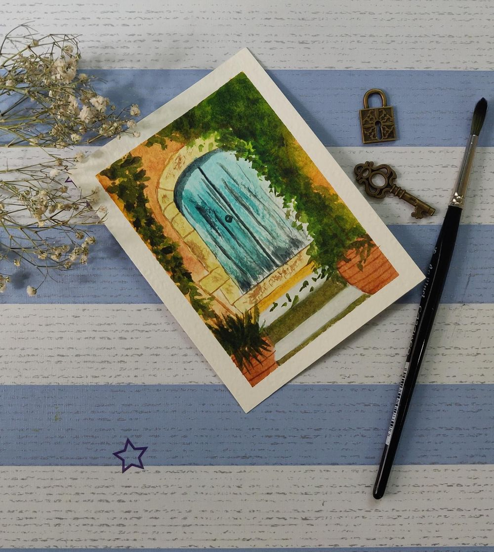Watercolor postcards: painting old rustic doors in watercolors - image 2 - student project