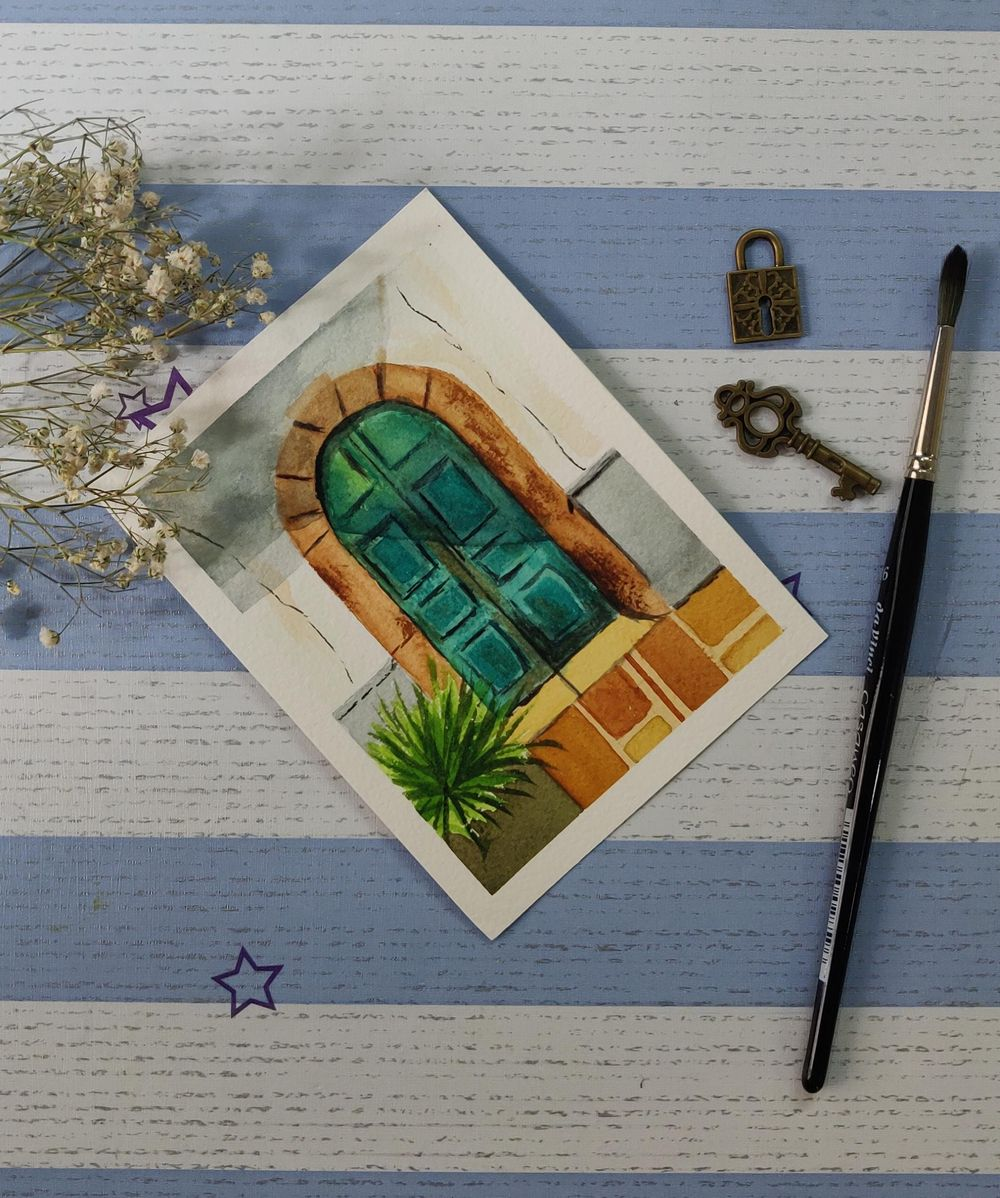 Watercolor postcards: painting old rustic doors in watercolors - image 3 - student project