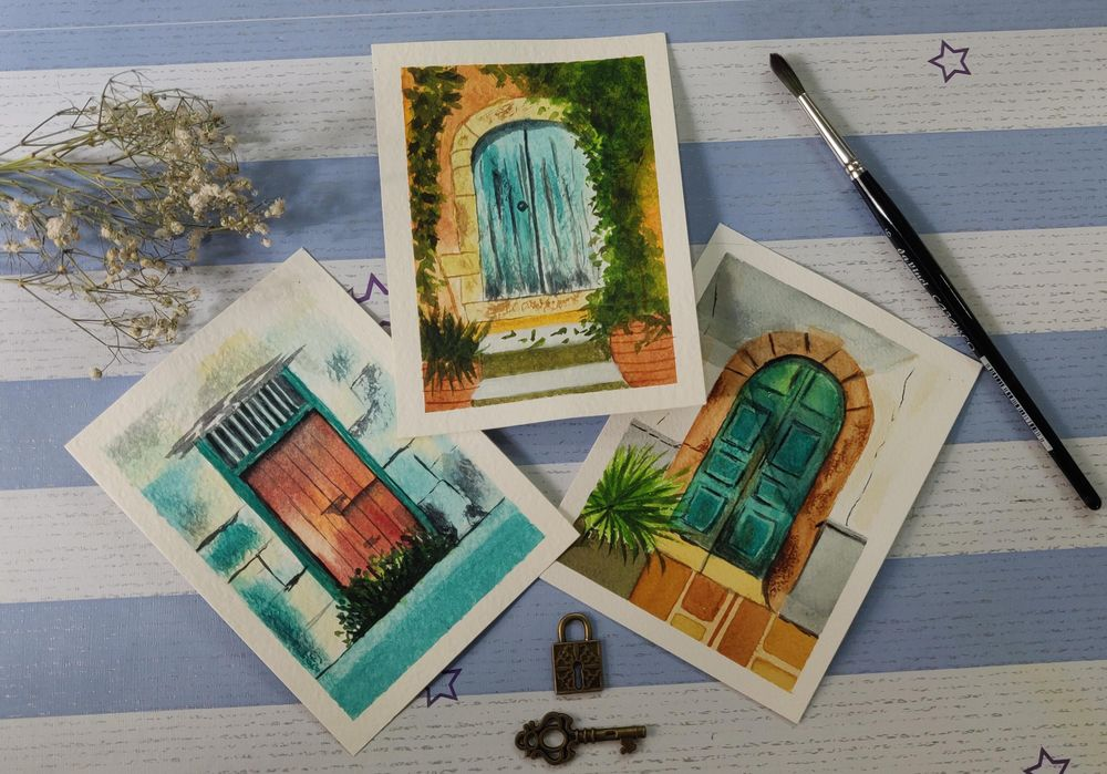 Watercolor postcards: painting old rustic doors in watercolors - image 4 - student project