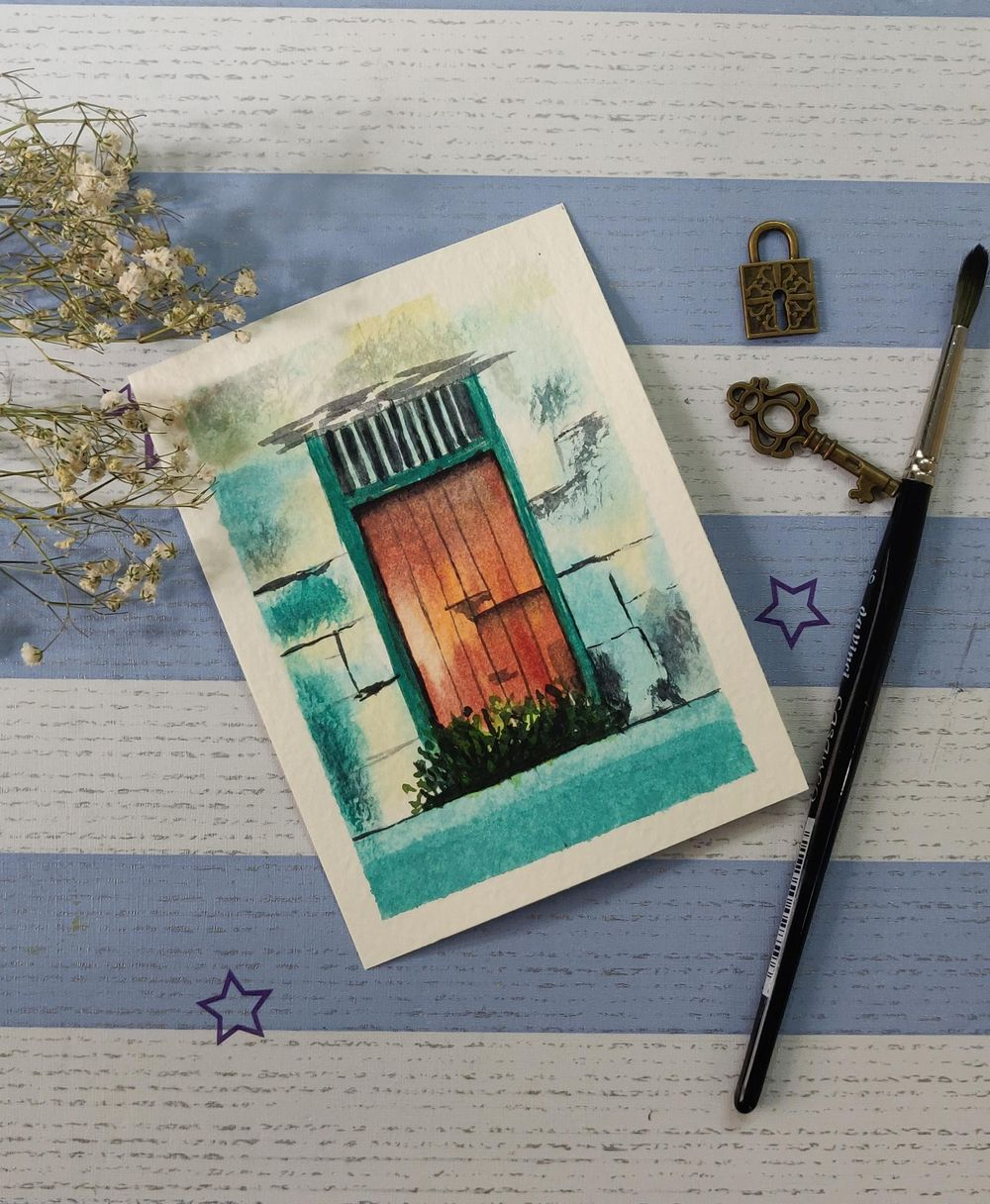 Watercolor postcards: painting old rustic doors in watercolors - image 1 - student project