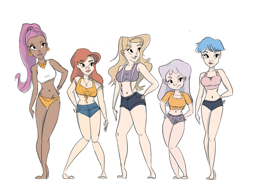 Women line-up character design assignment - image 1 - student project