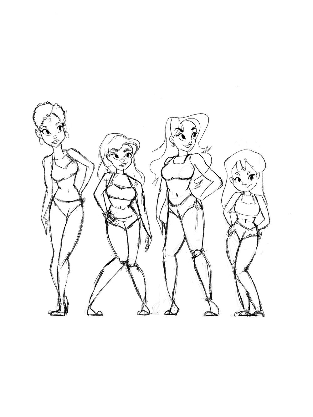 Women line-up character design assignment - image 2 - student project