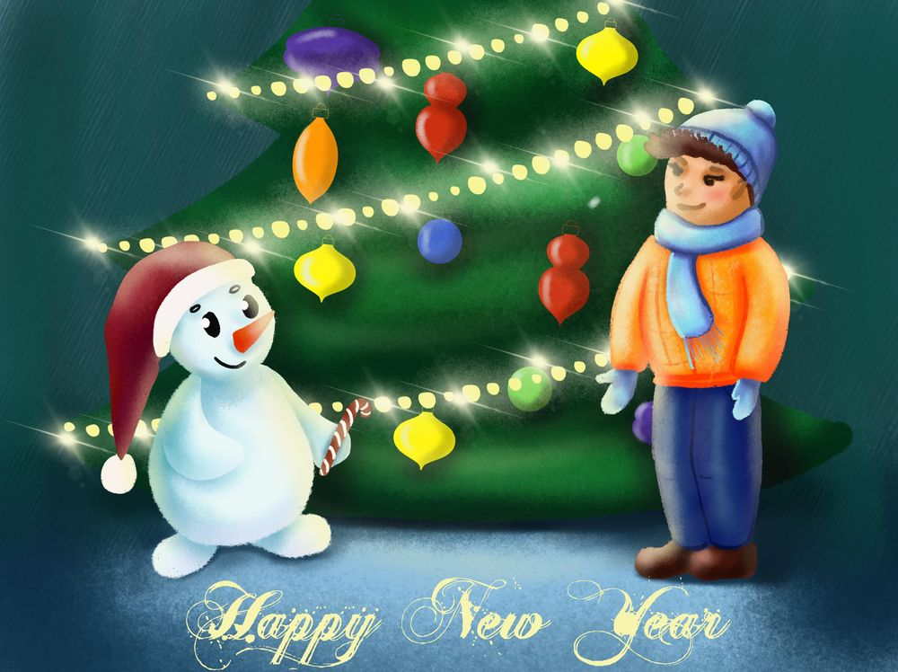 Snowman and a boy - image 1 - student project